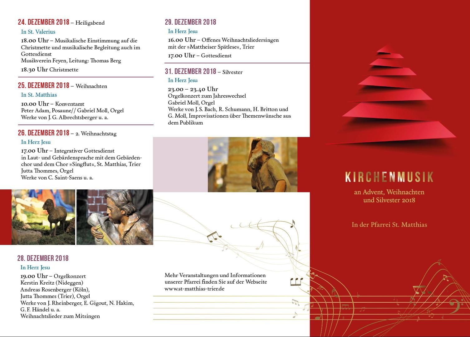 Weihnachten 2019 Musik.Gottesdienste Konzerte Offene Kirche In Der Weihnachtszeit 2018