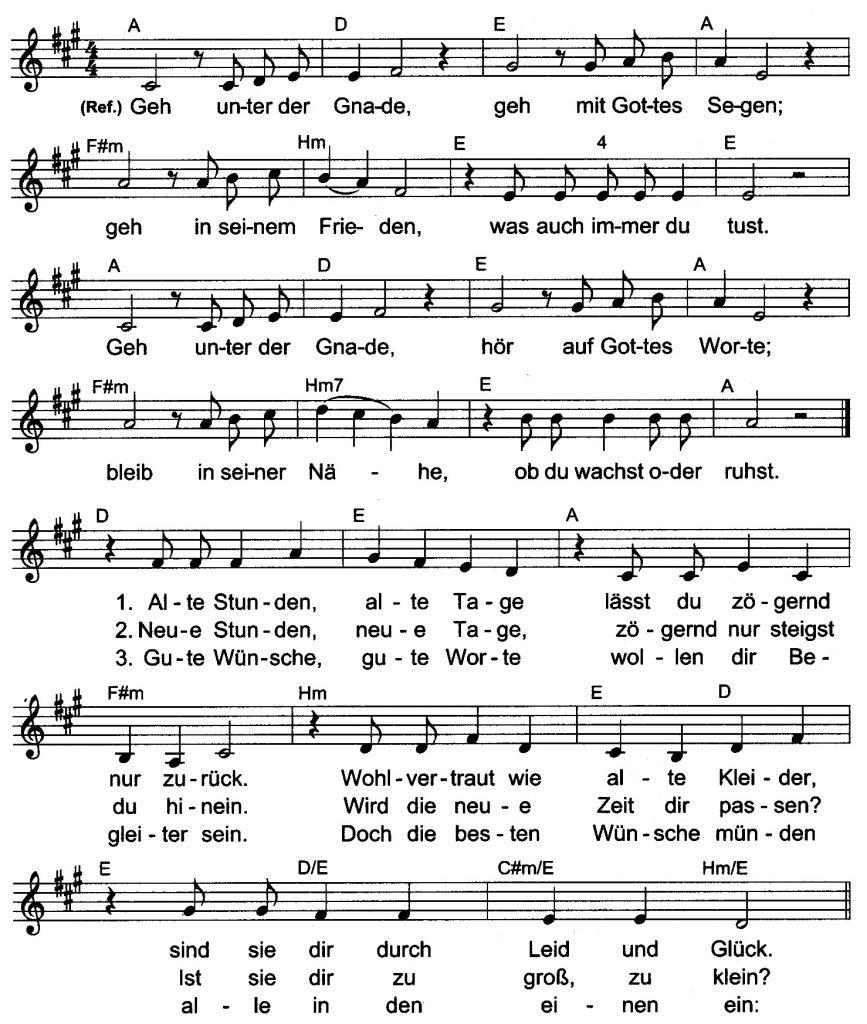 Liedtext Geh Unter Der Gnade