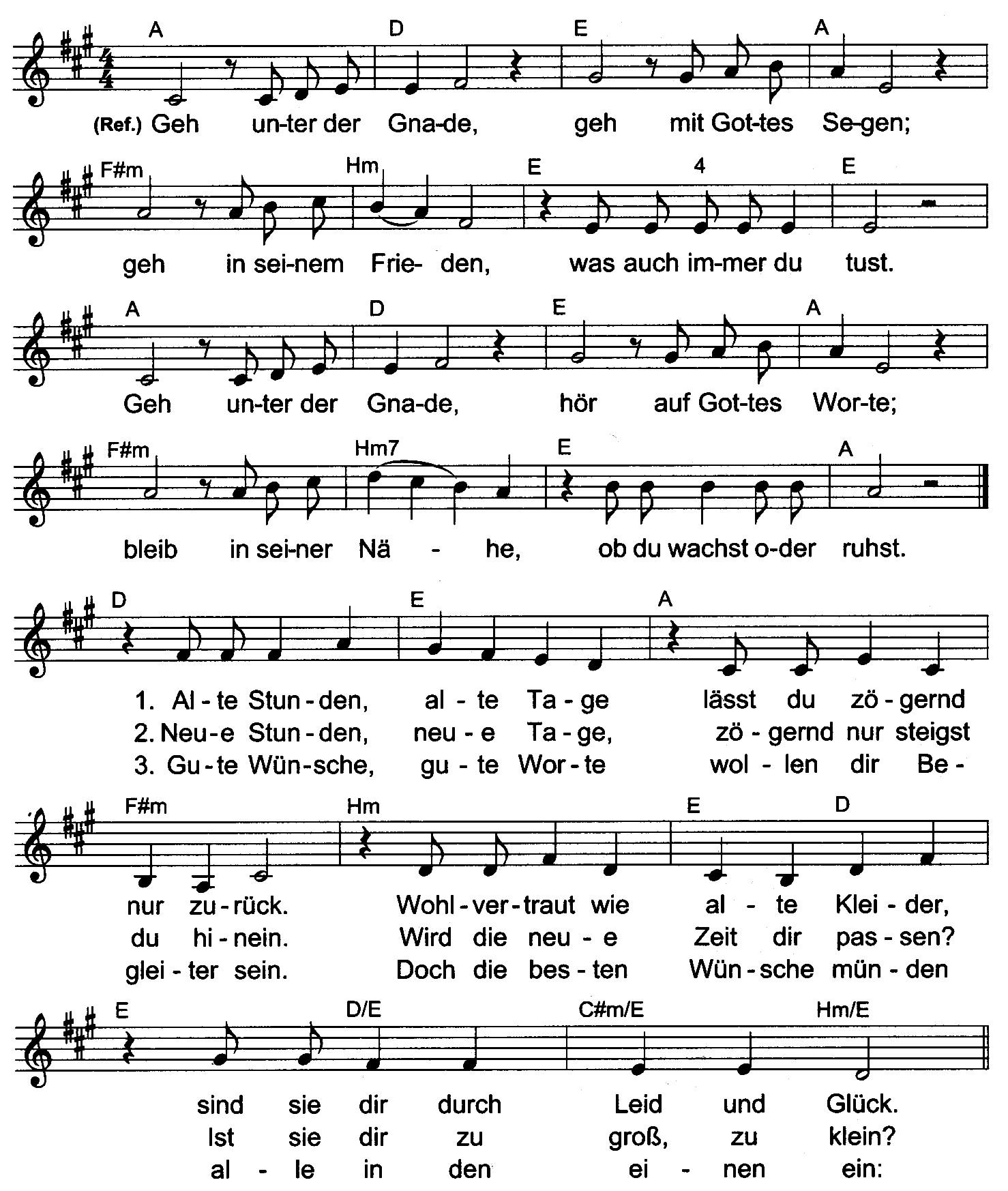 Geh Unter Der Gnade Text Und Noten